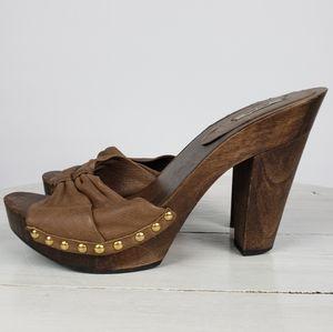Miu Miu wooden platform leather studded mules